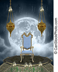 throne in the sky with big moon