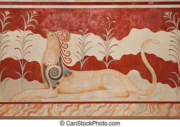 Knossos Archeological Site - Throne Room at Knossos...