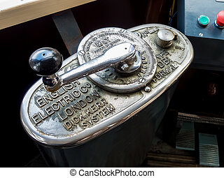 throttle lever a tramway - the throttle of an old tram in...