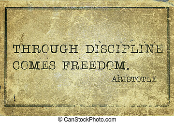 through discipline comes freedom - ancient Greek philosopher Aristotle quote printed on grunge vintage cardboard