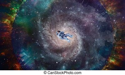 Through eternity and time. Astronaut in beautiful colorful space. High quality FullHD footage