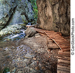 through the canyon - Wooden path around the creek in karstic...