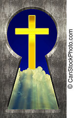 Through the Keyhole - Christian Cross in Clouds