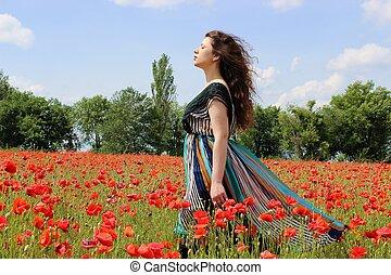 Through the poppy field