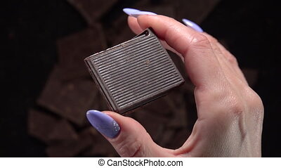 Throw a bar of chocolate. Slow Motion 500fps