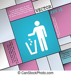 throw away the trash icon sign. Modern flat style for your design. Vector