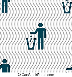 throw away the trash icon sign. Seamless pattern with...