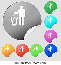 throw away the trash icon sign. Set of eight multi colored...