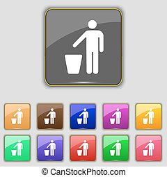 throw away the trash icon sign. Set with eleven colored buttons for your site. Vector