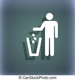 throw away the trash icon symbol on the blue-green abstract...