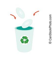 Throw CD or DVD Compact Disc into dustbin - Go Green,...