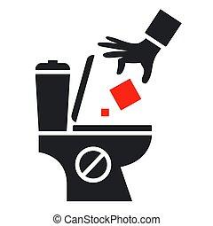 throw household waste into the toilet.