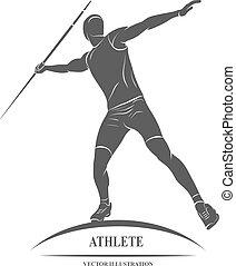 throw., javelin, silueta, atleta
