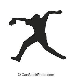 throw., silueta, vetorial, player., basebol