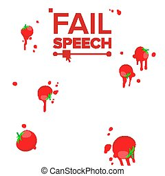 Throw Tomatoes Vector. Having Tomatoes From Crowd. Bad Luck,...