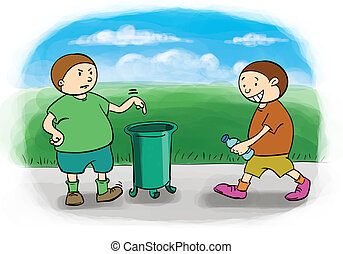throw trash - stimulus to keep the environment clean boy ...