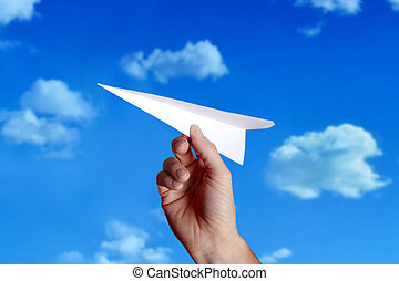 throwing a paper plane..