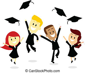 Throwing Cap in Graduation Day - Four young college...