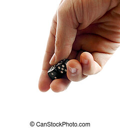 Throwing dice - Gesturing hand. throwing dice on white