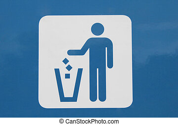 Throwing garbage into a trash can symbol