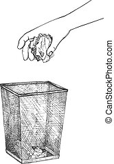 Vector illustration of refuse icon. Human hand throwing crumpled piece of paper out into meshed trash bin. Recycling and environmental responsibility. Vintage hand drawn style.
