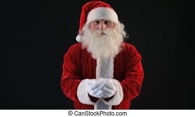 Throwing snow - Santa throwing snow then hiding beneath