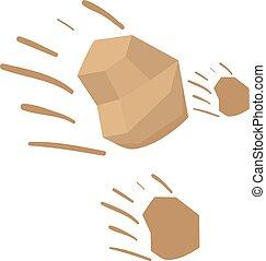Throwing stones icon, cartoon style - Throwing stones icon....