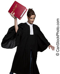 Throwing the book - Women dress as a canadian attorney,...