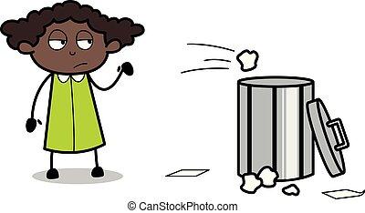 Throwing Trash in Dustbin - Retro Black Office Girl Cartoon Vector Illustration