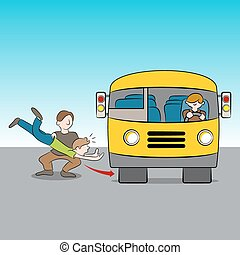 Thrown Under Bus - An image of the metaphor of being thrown...