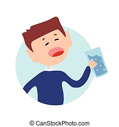 Thrsty guy with a glass of water in his hand. Isolated flat illustration on a white backgroud. Cartoon vector image.