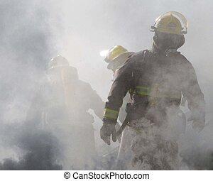 thru, humo, bomberos