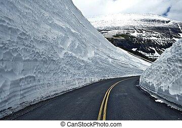 thru, nieve, camino