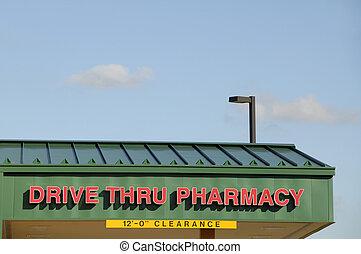thru, unidad, farmacia