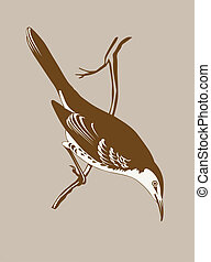 thrush silhouette on brown  background, vector illustration