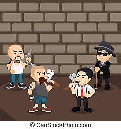 thug fighting with mafia