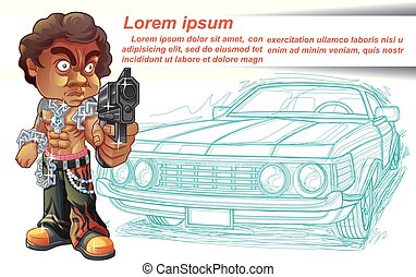 Thug. - Thug character is carrying gun and car outline ...