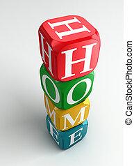 thuis, 3d, kleurrijke, buzzword