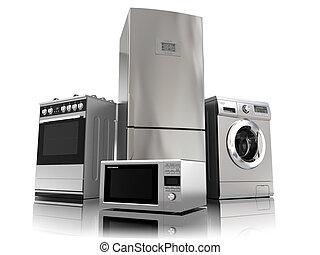 thuis, appliances., set, van, huisgezin, keuken, technics