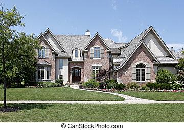 thuis, baksteen, ceder, dak