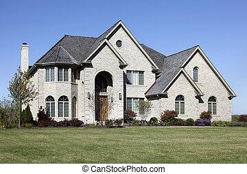 thuis, baksteen, ceder, luxe, dak
