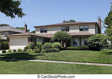 thuis, baksteen, shingled, dak