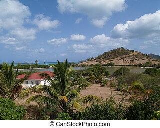 thuis, barbuda, antigua, aanzicht