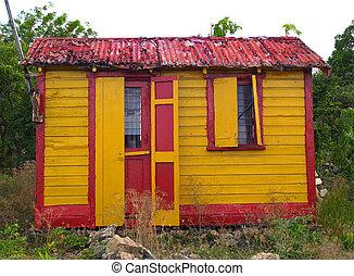 thuis, barbuda, kleurrijke, antigua