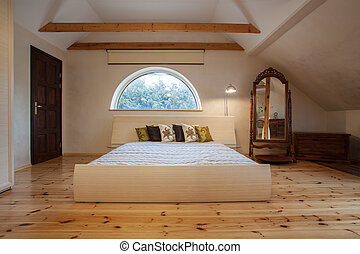 thuis, -, bewolkt, slaapkamer