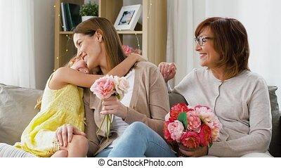 thuis, bloemen, groet, gezin, moeder