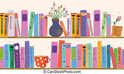 thuis, boek, vazen, planken
