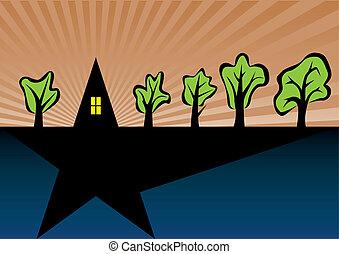 thuis, bomen