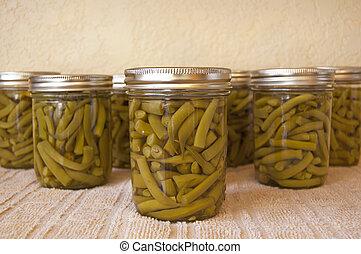 thuis, canned, spersiebonen