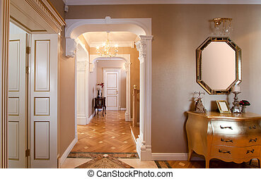 thuis, classieke, interior.